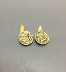 Collectible Pair Of Brass Vintage Antique Hunter And Hunting Dog Cufflink Buttons