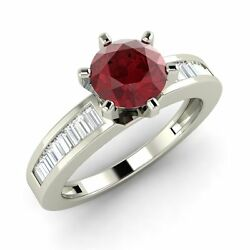 1.24 Cts Certified Ruby And Natural Vs Diamond 14k White Gold Engagement Ring