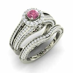 Certified 1.51 Cts Pink Sapphire And Diamond 14k White Gold Halo Bridal Ring Set