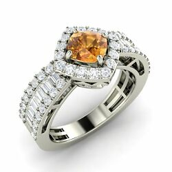 1.62 Ct Certified Citrine Vs And Si Diamond 14k Solid White Gold Engagement Ring