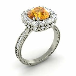 2.29 Ct Round Cut Citrine And G/si Diamonds 14k White Gold Halo Ring Certified