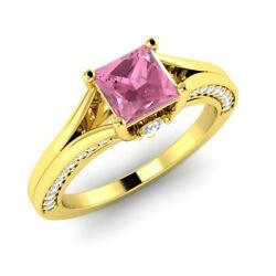 18k Yellow Gold Certified Princess-cut Pink Sapphire And Diamond Engagement Ring