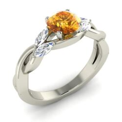Natural Citrine Engagement Ring 14k White Gold Vs Diamonds Certified 1.18 Tcw