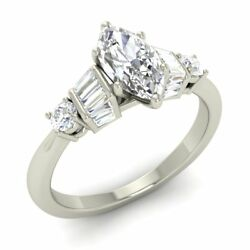 Certified 1.49 Ct Natural White Topaz And Diamond 14k White Gold Engagement Ring