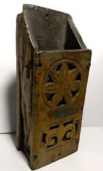 Beautiful Carved Primitive Antique Wood Wall Folk Art Candle Box Mustard Yellow