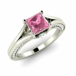18k White Gold Certified Princess-cut Pink Sapphire And Diamond Engagement Ring
