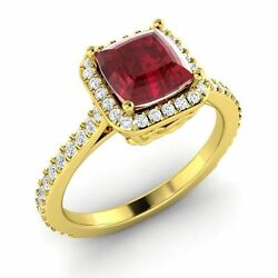 Certified Cushion-cut Ruby And Diamond Halo Engagement Ring In 14k Yellow Gold