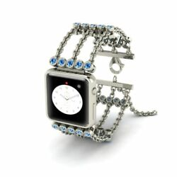 8.42 Ctw Natural Blue Topaz 10k White Gold Apple Watch Chain Band Band Only