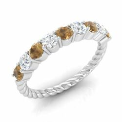Certified 0.90ct Brown And G/si Diamond Twisted Wedding Ring In 14k White Gold