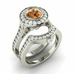 Certified 1.79 Ctw Citrine And Diamond 14k White Gold Engagement Bridal Ring Set