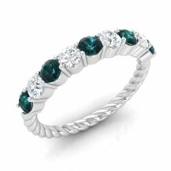 Certified 0.9ct Blue And G/si Diamond Twisted Wedding Band Ring 14k White Gold