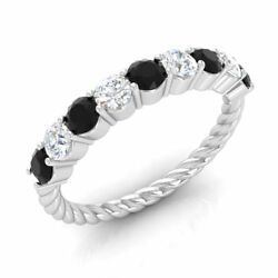 Certified 0.90 Ct Black And White Diamond Twisted Wedding Ring 14k White Gold