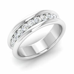 Certified 0.60 Ct Natural G/si Diamond Wedding Band Ring In 14k White Gold