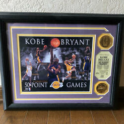 Kobe Bryant Frame Nba Los Angeles Lakers Gold Medallion Mint 50 Point Games 2007
