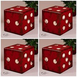Four Accent End Table Las Vegas Home Decor Dice Stool Aged Rubbed Red Ivory