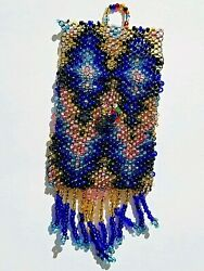 Native American Navajo Beaded Medicine Pouch Tight Glass Beaded Colors Vintage