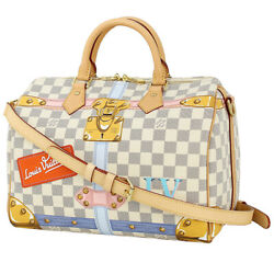 Auth LOUIS VUITTON Speedy Bandouliere 30 Damier Azur Trunk Handbag Shoulder bag $2,700.00