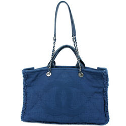 Auth CHANEL Shopping Tote Bag Mixture Fiber Goat Leather Blue Chain shoulder bag $3,230.00