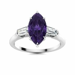 1.8 Ct Marquise Cut Amethyst And Vs Diamond Trilogy Engagement Ring 14k White Gold