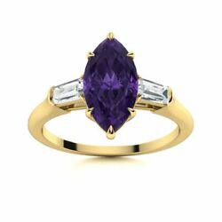1.8ct Marquise Cut Amethyst And Vs Diamond Trilogy Engagement Ring 14k Yellow Gold