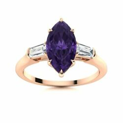 1.80 Ct Marquise Cut Amethyst And Vs Diamond Trilogy Engagement Ring 14k Rose Gold