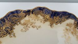 1800s Royal Doulton Blue And Raised Gold Embossed Scalloped Edges 10 9 Plates