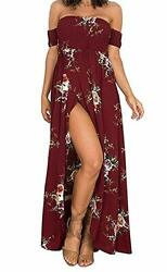 AM Clothes Women#x27;s Off The Shoulder Floral Boho Maxi Sundress Wine Red X Small $13.49