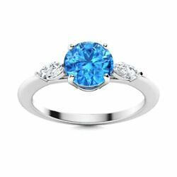 Natural Blue Topaz And Diamond Engagement Ring Certified 14k White Gold 1.2 Tcw