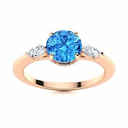 Natural Blue Topaz And Diamond Engagement Ring Certified 14k Rose Gold 1.2 Tcw