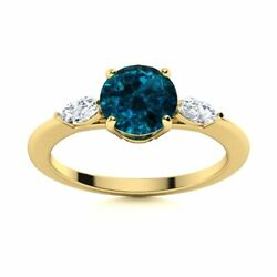 Natural London Topaz And Diamond Engagement Ring Certified 14k Yellow Gold 1.2 Tcw