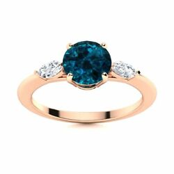 Natural London Topaz And Diamond Engagement Ring Certified 14k Rose Gold 1.2 Tcw