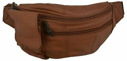 Genuine Leather Fanny Pack Cell Phone Holder Slim Waist Pouch Travel Tan $10.99