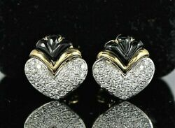 6200 18k Yellow Gold Black Onyx Pave Diamond Heart Shell Convertible Earrings