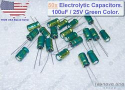50x Electrolytic Capacitors 100uf 25v 6x7mm Green Color 105c Rohs Lead-free Usa