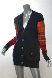 Navy Blue Cashmere Knit Cardigan Plaid Long Sleeve Top Sweater Us8 Fr40