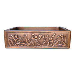 Coppersmith Creations Single Bowl Flower Front Apron Copper Kitchen Sink