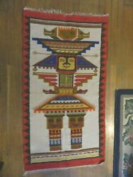 Old Pictorial Textile Native South American Indian Weaving Figure Rug Kachina