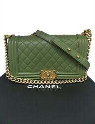 Chanel Boy Green olive Caviar Medium gold hardware Bag