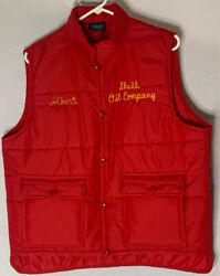 Vtg Shell Oil Company Mens Puffer Vest Trucker Quilted Large Red Gas Made Usa