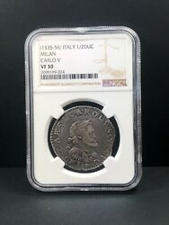 1535 - 1556 Italy Milan 1/2 Ducaton Ngc Vf 30 Exceedingly Rare Unlisted