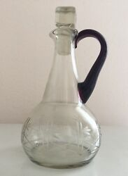 Antique Vintage Etched Glass Barware Decanter Carafe Pitcher W/ Stopper And Handle