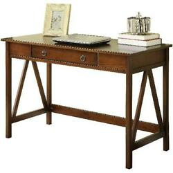 Rustic Wooden Computer Writing Desk W/ Drawer Antique Tobacco Finish Home Decor