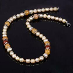 Faceted Jade Pave Diamond Natural Pearl Beads Necklace Sterling Silver Jewelry