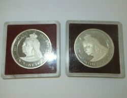 2 1977 25 Cayman Islands Queenand039s Silver Proof Commemorative Coins Low Mintage