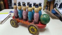 Antique Wood Pull Toy Extreemly Rare 40s Chinese Boys And Girls Peg Wagon