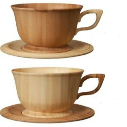 Japanese Rare Bamboo Tea Cup And Saucer Pair Set Made Of Moso Bamboo By Riveret.