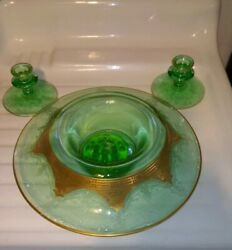 4pc. Etched Green Elegant/depression Glass Console Bowl Candlesticks Gold...