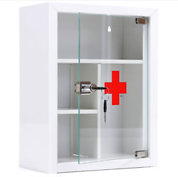 Wall Mount First Aid Kit White Metal Storage Box Lockable Glass Door Cabinet