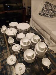 Gold Standard Porcelain China For 12 Minus Berry Bowl And Saucer Plus Serving