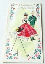 Vintage Valentine Little Cherub Angel Taking Pictures Of Couple Old Camera
